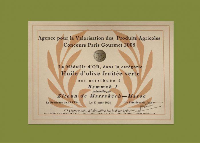 Certificat de mérite - Huile d'olive maroc
